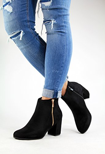 Black Casual Block Womens Ladies Boots Zip Ankle Shoes High New Comfy Heel PxgqHwAx6