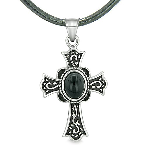 Magic Holy Cross Protection Powers Amulet Charm Simulated Black Onyx Pendant Leather - Black Onyx Necklace Charm