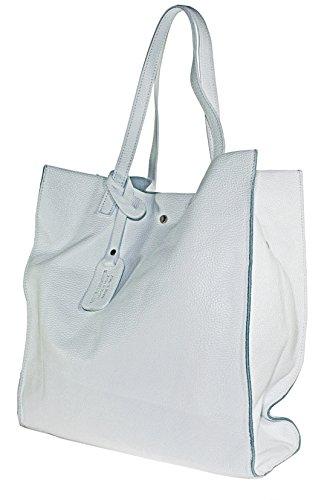 Echt Leder Ledertasche Damentasche Handtasche Shoppertasche Schultertasche (weiss) Weiss