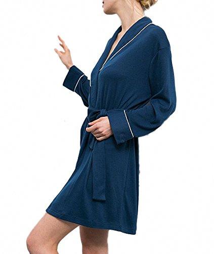 Pyjamas Wrap Peignoir Kimono Doux Court Afibi Femmes Coton Bleu OqXwxSZ