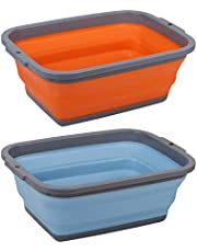 2 Pack Collapsible Sink with 2.25 Gal / 8.5L Each, Foldable Dish Tub for Washing Dishes, Camping, Hiking and Home, Portable Washing Basin