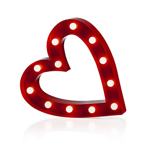 Torre & Tagus 960092B Marquee LED Lighted Metal Heart, Red