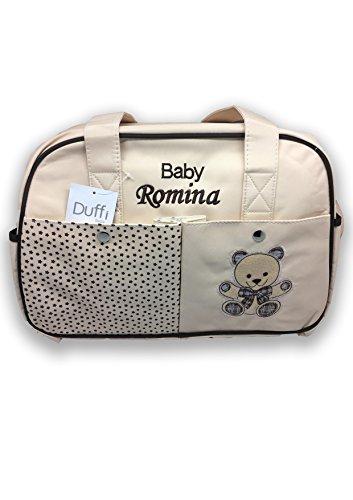 Bolso de carro bebé con cambiador y portabiberón. Personalizado con nombre bordado. COLOR BEIGE