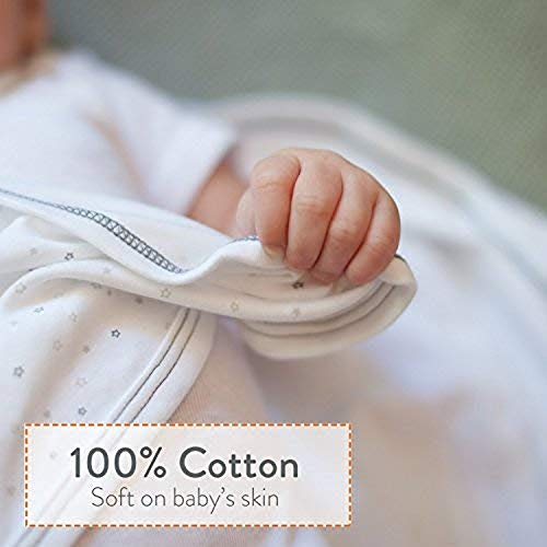 Nested Bean Zen Sack Classic – Adjustable Cotton Wearable Blanket | Baby Sleeping Bag (6-12 Months)(Stardust Grey)