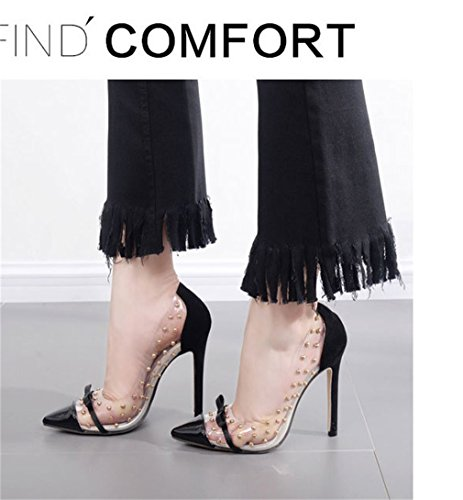 Pompes Heel Bow Thin Party Talons Nightclub Sexy Pointed Rivet Chaussures Femmes Tie Single hauts Noir Xianshu Transparents Banquet axpR0