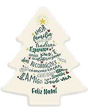 Luminária Árvore de Natal DecorFun Feliz Natal - Branca com palavras inspiradoras