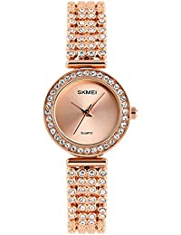 Quartz Watch Womens 30 Meters Waterproof Lady Watch Girl Watch on Sale Birthday Gift with Stainless Steel diamond Band (golden)