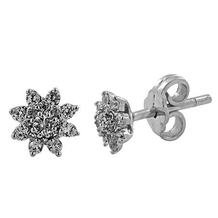 Boucle d'oreille diamant 1/4 ct tw rond coupé or blanc 9K