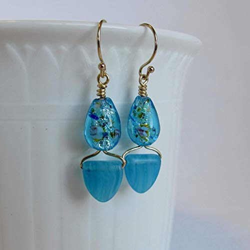 Aqua Venetian & Sea Glass Solid 14k Yellow Gold Earrings