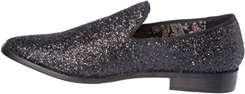 Mens Loafer-Fashion Slip-On Sparkling-Glitter Black Dress-Shoes Size 9 by Alberto Fellini (Image #6)