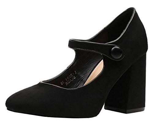 SHU CRAZY Womens Ladies Faux Suede High Block Heel Platform Mary Jane Fashion Sandals Shoes - N97 Black FhcjYz3CE8