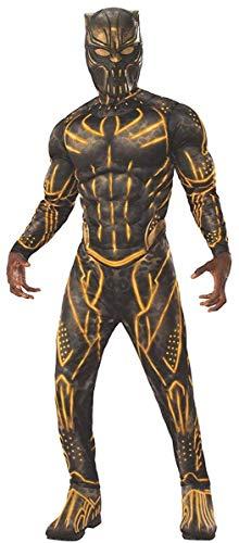 Rubie's Costume Men's Standard Deluxe Erik Killmonger Battle Suit Muscle Chest, Black/Gold, X-Large