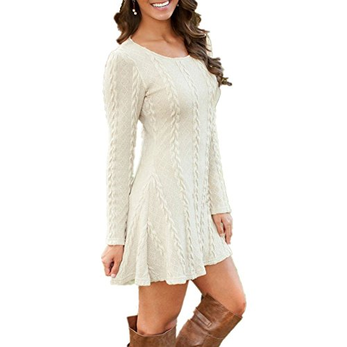 Haut de Casual Pull Hiver Pull Cocktail Mince Blanc Sweater BienBien Tricot Jumper Femme A Mini Robe Blouse Robe Line Longues Over Tricot Robe Tunique Manches Automne Party ZwR7xq05