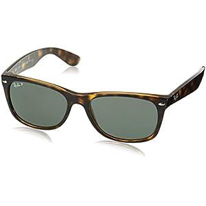 Ray-Ban Men's New Wayfarer Polarized Square Sunglasses, Tortoise, 58 mm