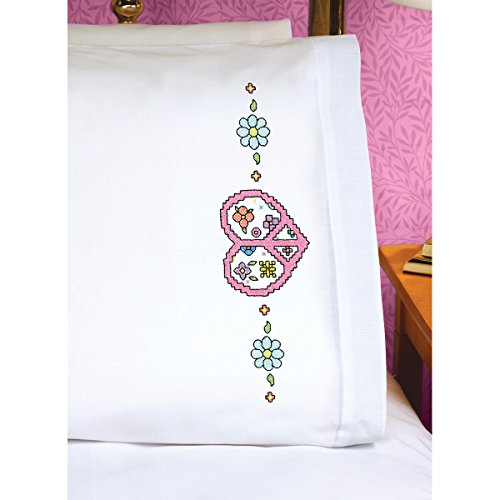 Janlynn Peace Heart Sign Pillowcase Pair Stamped Cross St...