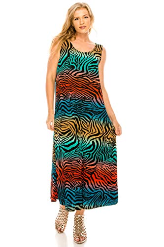 - Jostar Women's Stretchy Tank Long Dress Sleeveless Plus Print 3XL Multi Animal