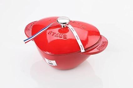 Hierro Fundido 20 cm Staub Heart Cocotte con Forma de coraz/ón Rojo Cereza