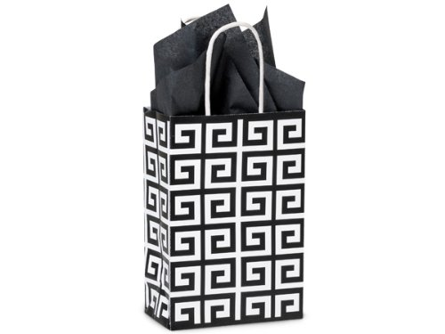 Pack Of 25, Rose 5.5 x 3.25 x 8.5'' Black Geo Graphics Recycled Paper Shopping Bag w/white paper twist handles Made In USA