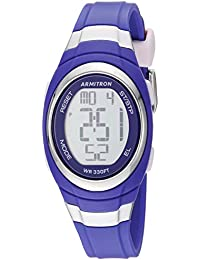 Women's Silver-Tone Accented Digital Chronograph Purple Resin Strap Watch, 45/7034PUR