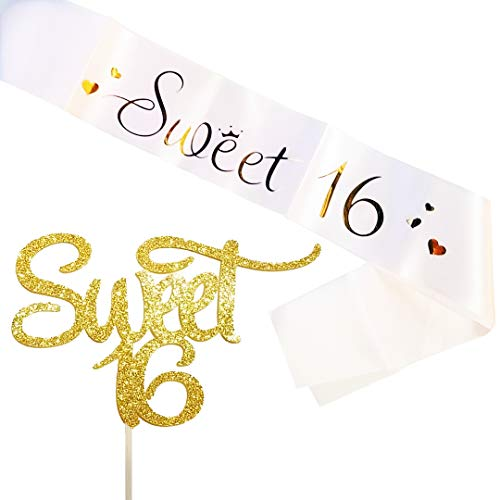 (Set of 2 JeVenis Sweet 16 Cake Topper 16th Birthday Cake Topper 16th Birthday Sash Sweet 16 Sash 16th Birthday Party Supplies 16th Birthday Wedding Anniversary Party Sign Decorations)