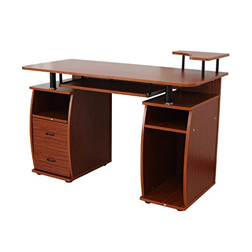 HomCom Home Office / Dorm Room Computer Desk with Keyboard Tray - Brown by HOMCOM