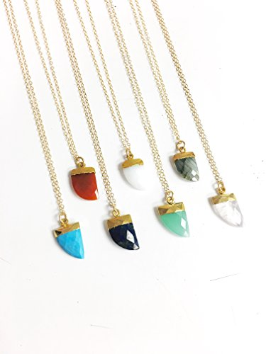 Petite Gemstone Horn Necklace- Your choice of ()