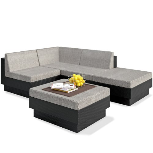 Sonax Z-103-TPP Park Terrace Textured Black 5-Piece Sectional Patio Set