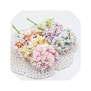 6pcs Silk Gradient Stamen Artificial Flower Bouquet for Wedding Decoration DIY Scrapbooking Decorative Wreath Fake Flowers 31