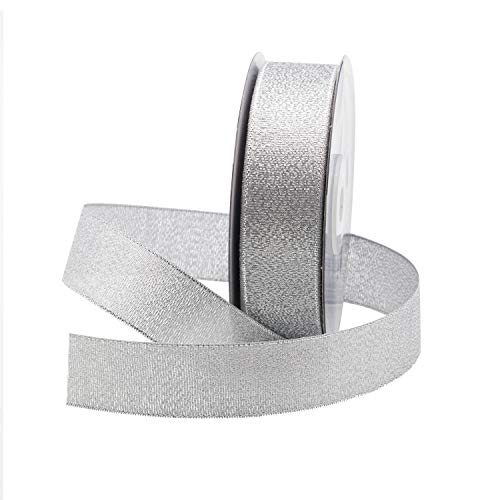Metallic (Glitz) Fabric Ribbon for Floral & Craft Decoration, 25 Yard Roll (75 FT Spool) by Royal Imports (7/8 Inch, Silver)