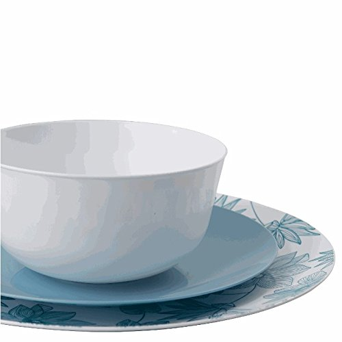 Dinnerware Belle (Trendables 60 - Pack Combo Premium Disposable Plastic Plates, Food Grade Plastic Dinner Plates - Bella Design Includes: 20 x 10.25