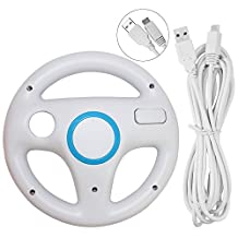 Steering Wheel for Wii U and Wii with Charging Cable, AFUNTA Racing Wheel Case for Mario Kart 8 Games, with 10ft USB Charger Cord - White , White