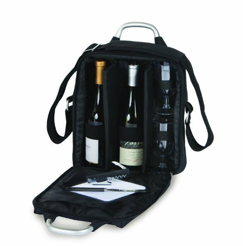 Picnic Plus Magellan Wine Tote and Cheese Set Holds 2 bottles includes Opener, Cheese Board, Knife- (Wine Bottle Cheese Board)