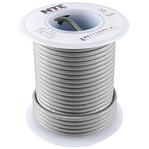 NTE Electronics WHS18-08-25 Hook Up Wire, Solid, Type 18 Gauge, 25' Length, 300V, Gray