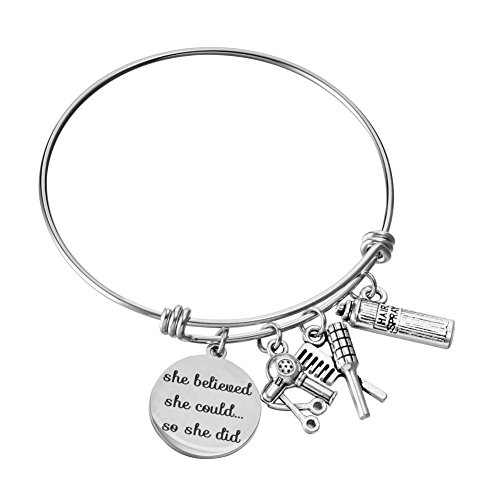 (Miss Pink Hair Stylist Gifts Beautician Hairdresser Charm Bracelet Expandable Wire Bangle Graduation Birthday Gifts for Her)