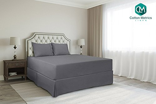 "Cotton Metrics Linen Present 800TC Hotel Quality 100% Egyptian Cotton Bed Skirt 12"" Drop Length Queen Size Dark Grey Solid"