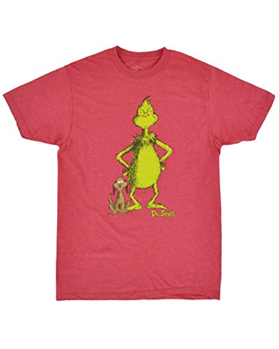 Dr Seuss Red Polyester (Dr Seuss How the Grinch Stole Christmas Mens T Shirt (2XL))