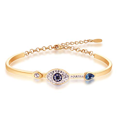 - Barzel 18K Gold Plated and Swarovski Crystal Evil Eye Bangle (Gold)