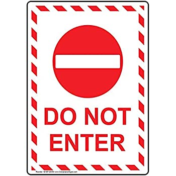 ComplianceSigns Vertical Plastic Do Not Enter Sign, 10 X 7 in. with English Text, White