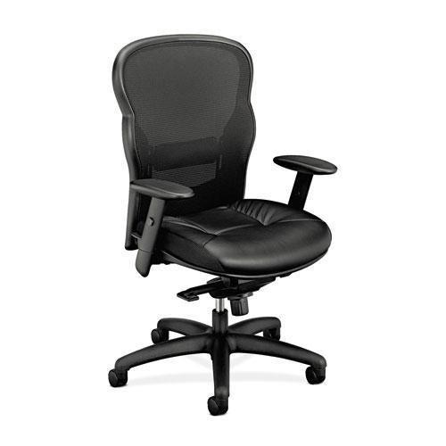 (Basyx VL701ST11 VL701 Series High-Back Swivel/Tilt Work Chair, Black Mesh/Leather)
