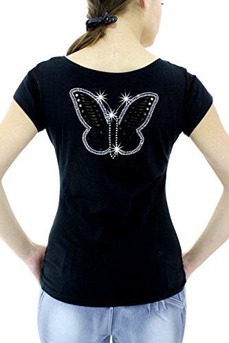 Preciosa camiseta manga corta brillante Negro