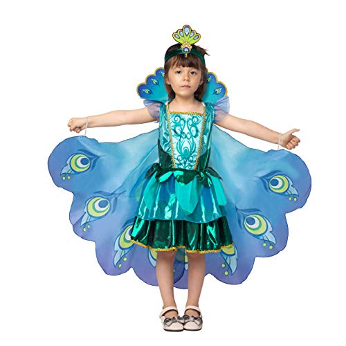 Little Girl Halloween Costume Ideas (Peacock Dress with Feather Wings and Headband for Girls Halloween Costume and Animal Costumes for Kids (Small 5 - 7))