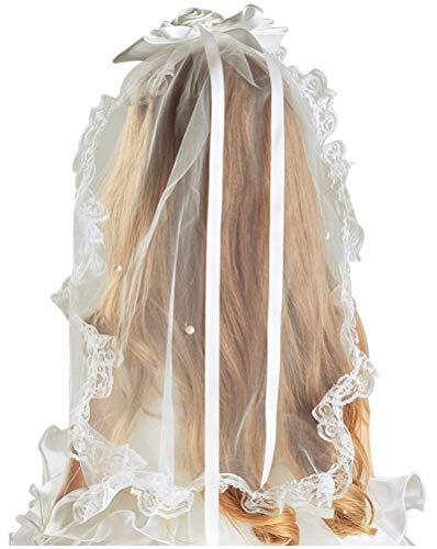 Bienvenu Flower Girl Bow Embroidered Wedding Veil,Ivory