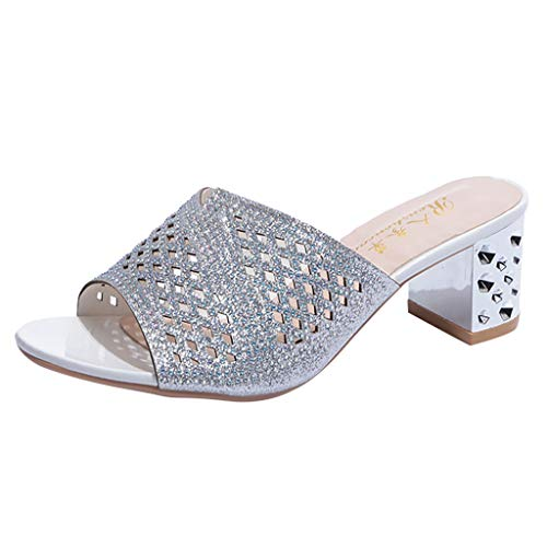 (Goddessvan 2019 Women's Bohemia Style Crystal Peep Toe Slipper Sandals Casual Shoes Silver)
