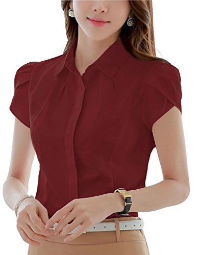 - Double Plus Open Womens Cotton Collared Fitted Business Button Down Blouse Short Sleeve Shirt Burgundy 4
