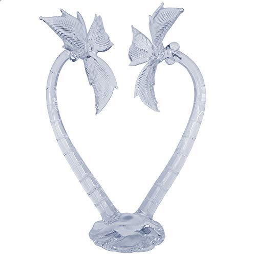 Hand Blown Glass Palm Tree Heart Wedding Cake Topper Crystal -