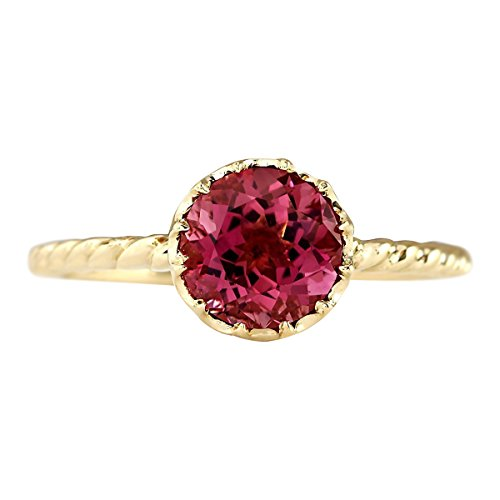 - 1.5 Carat Natural Pink Tourmaline 14K Yellow Gold Solitaire Promise Ring for Women Exclusively Handcrafted in USA