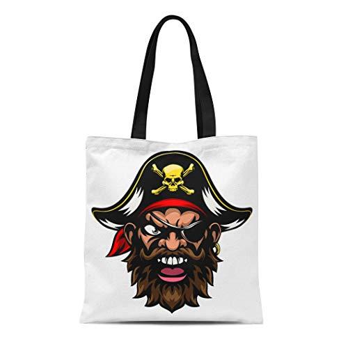 Semtomn Cotton Canvas Tote Bag Face Cartoon Mean Tough Looking Pirate Sports Mascot Character Reusable Shoulder Grocery Shopping Bags Handbag Printed -