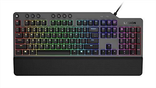Lenovo GY40T26478 Legion K500 RGB Mechanical Gaming Keyboard, 3 Zone Full-Size Keyboard, 7 User Programmable Hot Keys 16.8 Million Colors, 50 Million-Click Red Mechanical Keys, Detachable Palm Rest