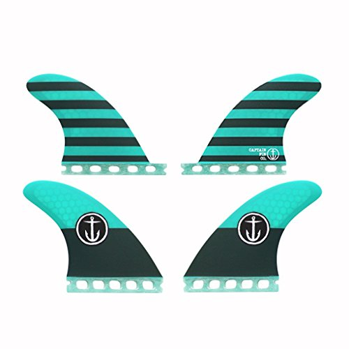 Captain Fin Co. CF-Quad Medium Single Tab/Futures Compatible Surfboard Fin, Aqua by Captain Fin Co.