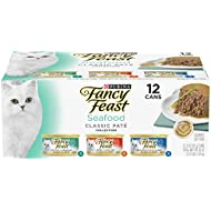 Purina Fancy Feast Grain Free Pate Wet Cat Food Variety Pack; Seafood Classic Pate Collection - 3 oz. Cans, 2 packs of 12 cans
